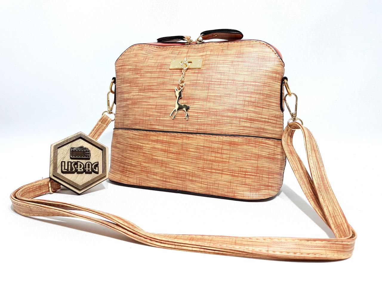 0513f2ed2fb5 Маленькая женская сумка через плечо персиковая с оленем новая модель -  Интернет магазин Lisbag в Умани