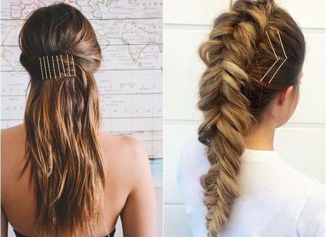 интересный декор волос невидимками