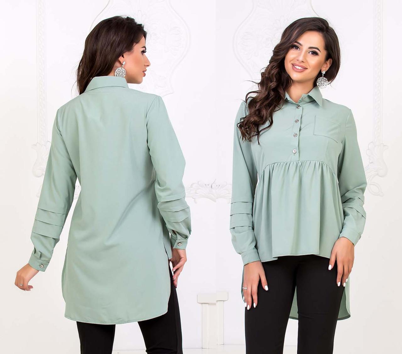 """Стильная женская рубашка-туника до больших размеров """"Софт Ассиметрия Кокетка"""" в расцветках"""