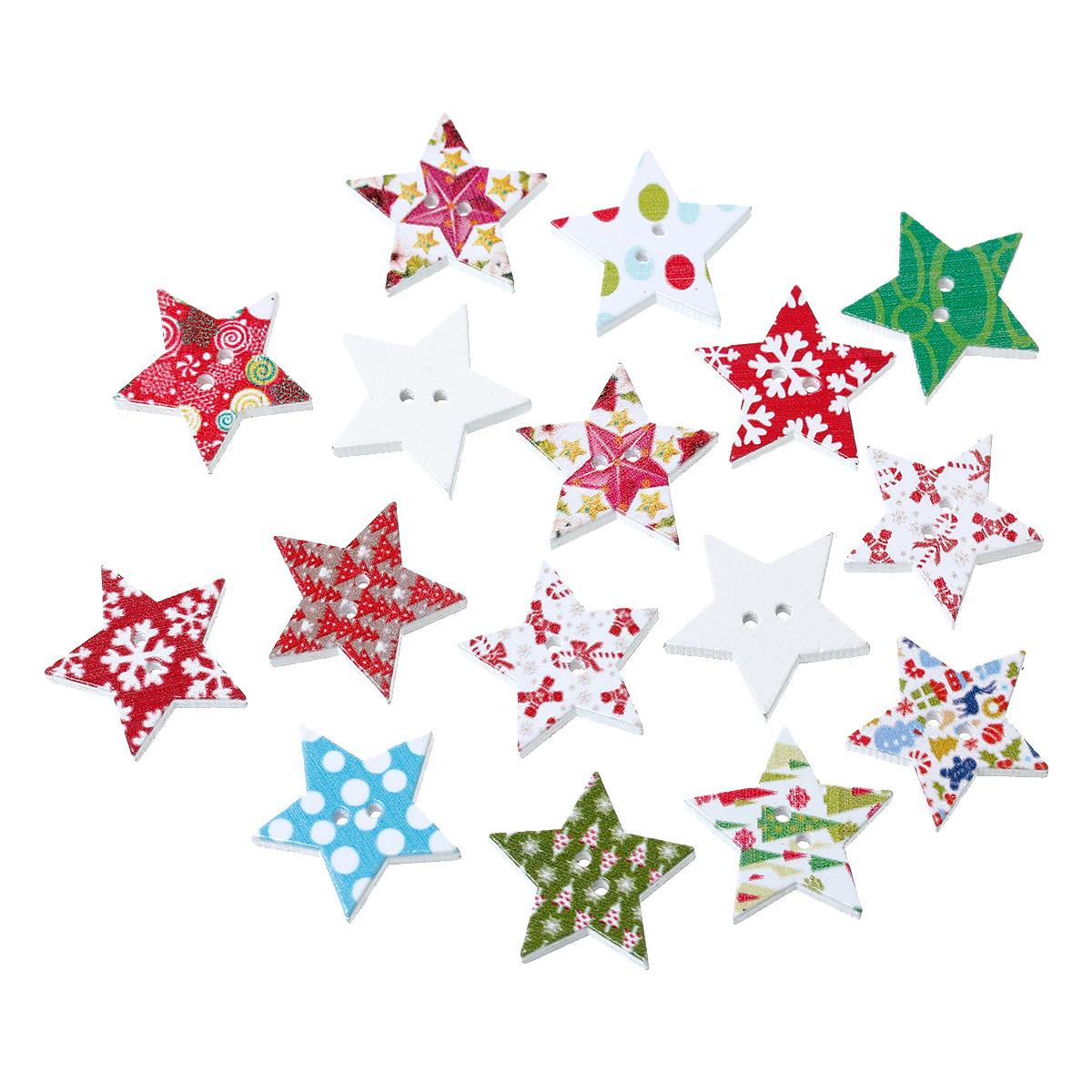 """Пуговица """" Звезда """", С двумя отверстиями, Разные яркие новогодние цвета, 25 мм x 24 мм, Упаковка: 10 шт."""
