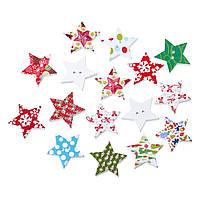 """Пуговица """" Звезда """", С двумя отверстиями, Разные яркие новогодние цвета, 25 мм x 24 мм, Упаковка: 10 шт., фото 1"""