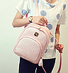 Рюкзак женский кожзам Crocodile print с кисточкой Розовый, фото 2