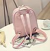 Рюкзак женский кожзам Crocodile print с кисточкой Розовый, фото 6