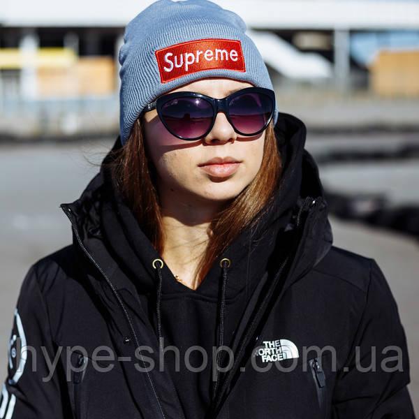Женская зимняя шапка в стиле Supreme | Топ качество!
