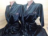 Жіночий атласний халат з іменною вишивкою, фото 8