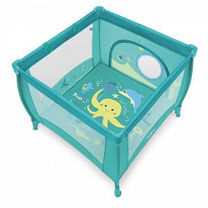 Детский манеж Play Up - Baby Design - Польша - мягкий матрасик, ручки-поднимашки, лаз на молнии Turquoise