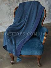 Плед шерстяной 130x170 BETIRES BALL NAVY BLUE (50% шерсть, 50% акрил) синий