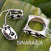 Необычный серебряный комплект с эмалью: кольцо и серьги с эмалью серебро 925, фото 5
