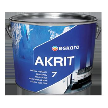 Моющаяся краска для стен и потолка Akrit 7 Eskaro 9л TR под колеровку (шелково-матовая)