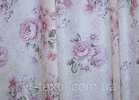 "Ткань ""Лён Прованс"". Высота 2,8м. Цвет бежевый с розовым. 220ш"