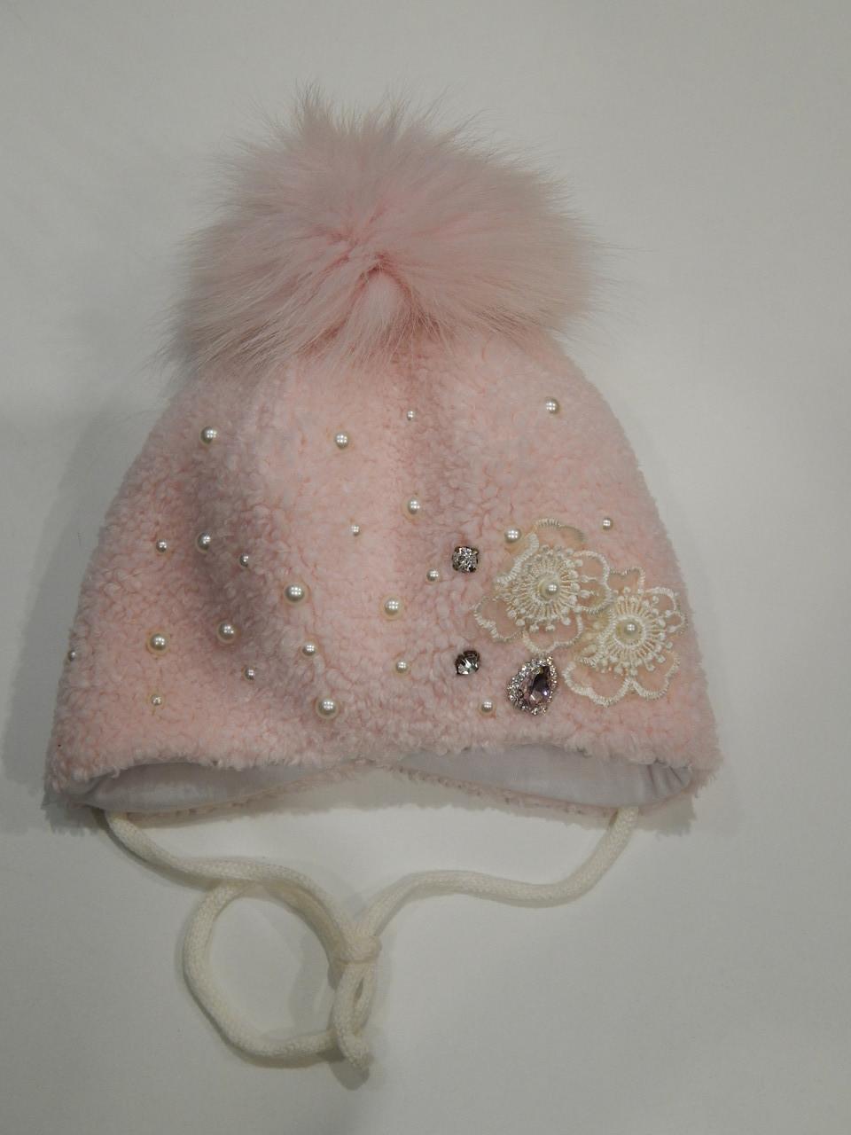 Шапочка зимняя с натуральным пампоном для девочки р.44 ТМ David's Star