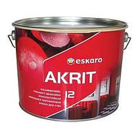 Износостойкая моющаяся краска для стен и потолка Akrit 12 Eskaro 9,5л (полуматовая)