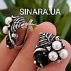 Срібний комплект сережки і кільце з перлами, оніксом та чорнінням, фото 8