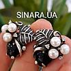 Срібний комплект сережки і кільце з перлами, оніксом та чорнінням, фото 7