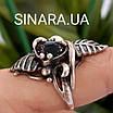 Срібний комплект сережки і кільце з перлами, оніксом та чорнінням, фото 6
