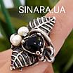 Срібний комплект сережки і кільце з перлами, оніксом та чорнінням, фото 5