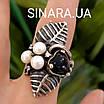 Срібний комплект сережки і кільце з перлами, оніксом та чорнінням, фото 4