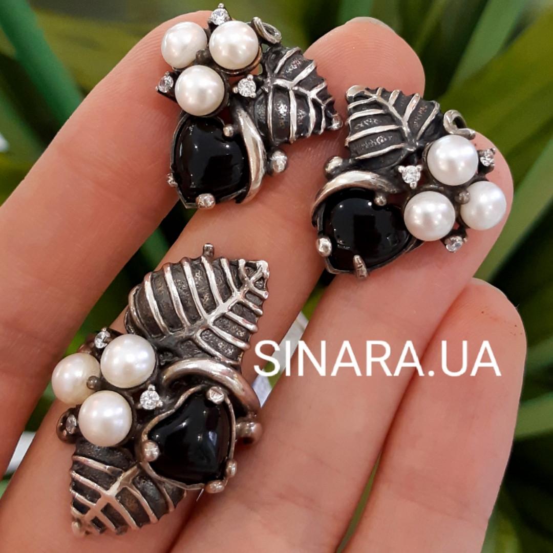Срібний комплект сережки і кільце з перлами, оніксом та чорнінням