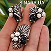 Срібний комплект сережки і кільце з перлами, оніксом та чорнінням, фото 3