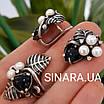 Срібний комплект сережки і кільце з перлами, оніксом та чорнінням, фото 2
