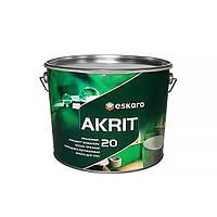Особопрочная краска для стен и потолка в ванных и кухнях Akrit 20 Eskaro 9,5л  (полуматовая)