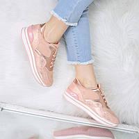Кроссовки женские Rexha питон пудра 3493 , спортивная обувь