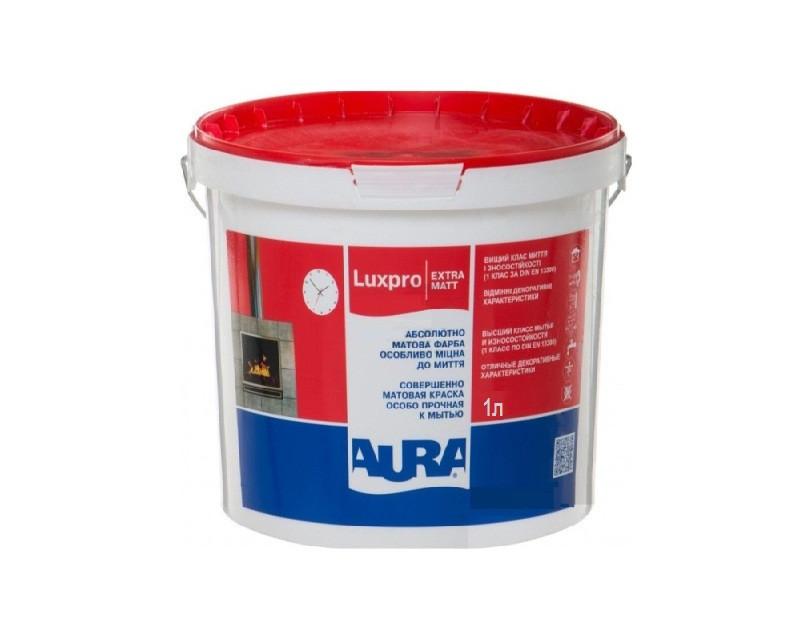 Моющаяся краска для стен и потолка Aura Luxpro Extramatt 1л (Аура люкс про экстрамат)