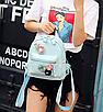 Рюкзак женский кожзам с цветами Голубой, фото 2