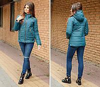 Стильная тёплая женская куртка с капюшоном синтепон 200