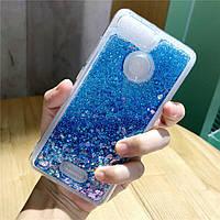 Чехол Glitter для Xiaomi Redmi 6A Бампер Жидкий блеск Синий