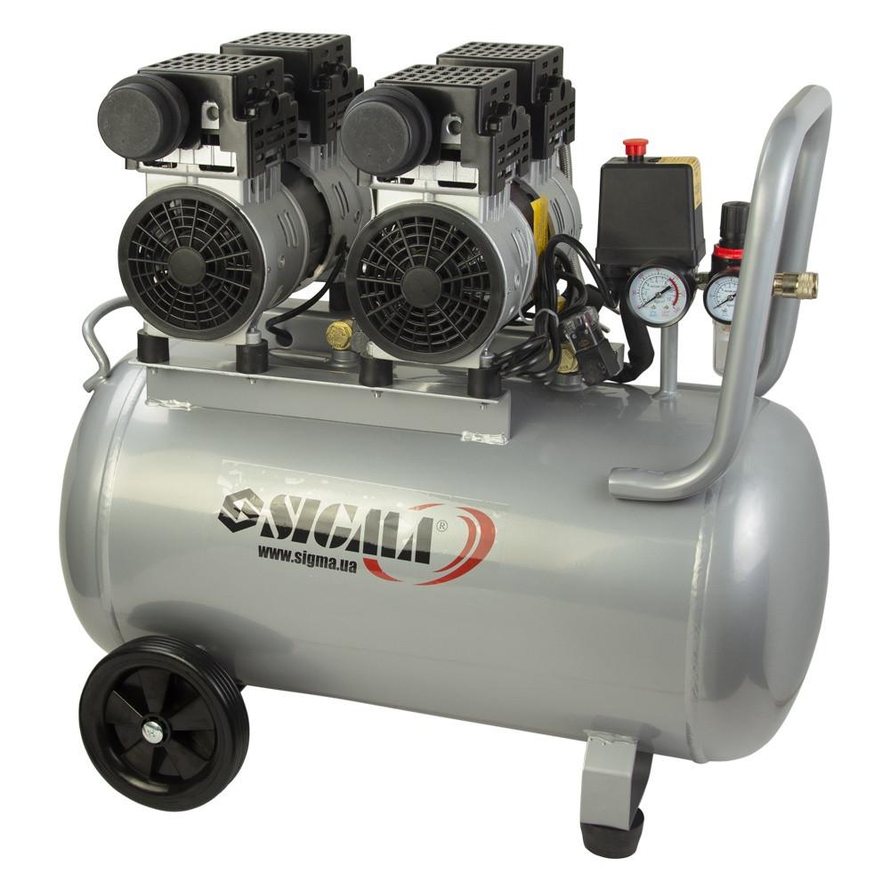Безмасляный малошумный компрессор четырехцилиндровый 2.2кВт 308л/мин 8бар 50л Sigma 7042551