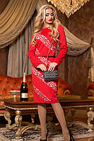 Женский стильный красный костюм жакет с платьем КТ-343, фото 1