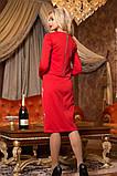Женский стильный красный костюм жакет с платьем КТ-343, фото 2