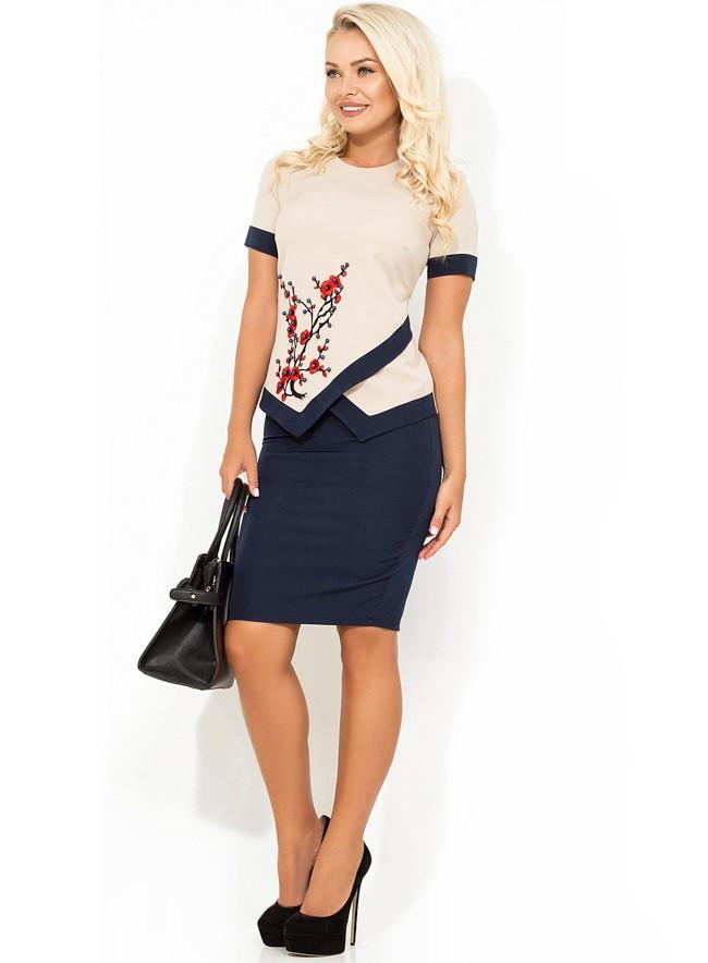 Модный костюм двойка блузка и юбка КТ-323
