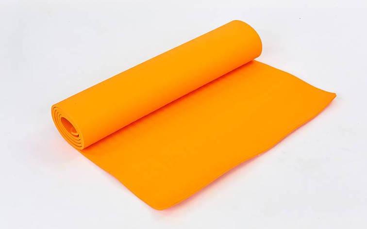 Коврик для фитнеса и йоги TPE+TC 6мм SP-Planeta оранжевый FI-4937 , фото 2