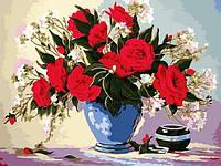 Картина по номерам 30×40 см. Красные розы