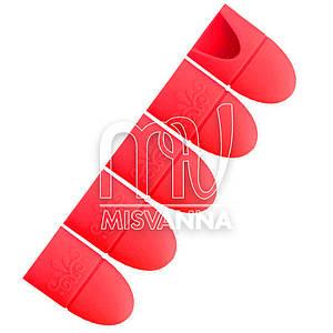 Прищепки (клипсы) для снятия гель лака силиконовые, 5 штук красные