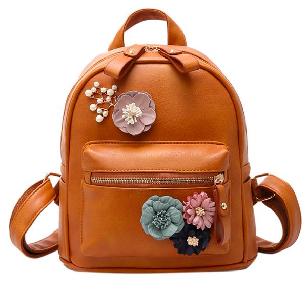 Рюкзак женский кожзам с цветами Коричневый