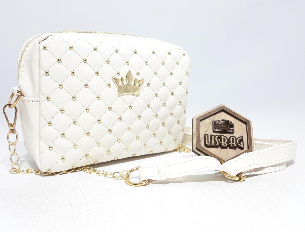 Маленькая женская Белая сумка с короной среднего размера через плечо