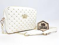 Маленькая женская Белая сумка с короной среднего размера через плечо, фото 1