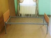 Кровать металлическая, одноярусная, спинка ДСП 190х90