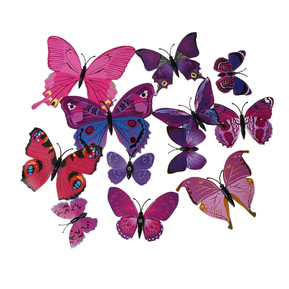 Бабочки 3D, PVC Пластик, Магнит на холодильник, Фуксия, 12 см x 10.5 см, Пакет: 12 шт.