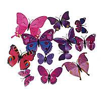 Бабочки 3D, PVC Пластик, Магнит на холодильник, Фуксия, 12 см x 10.5 см, Пакет: 12 шт., фото 1