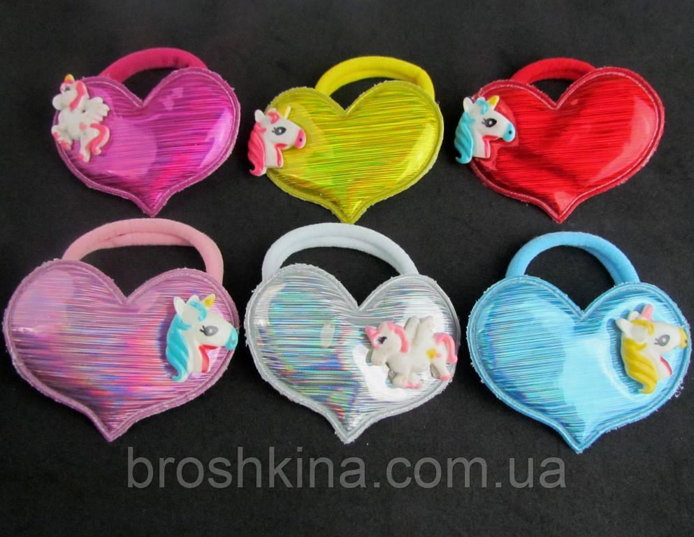 Детские резинки для волос Единороги голограмма 12 шт/уп