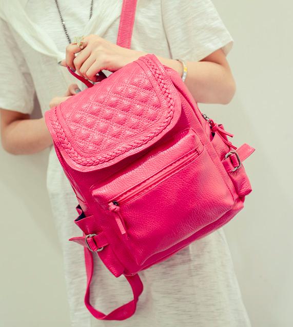 Рюкзак женский кожзам городской Weaving Розовый