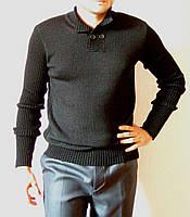 Черный вязаный мужской свитер машинной вязки с воротником поло