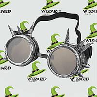 Очки Стимпанк гогглы с шипами серебро