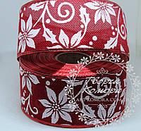 "Новогодняя лента ""Пуансетия на мешковине"", темно-красная, 6,2 см"