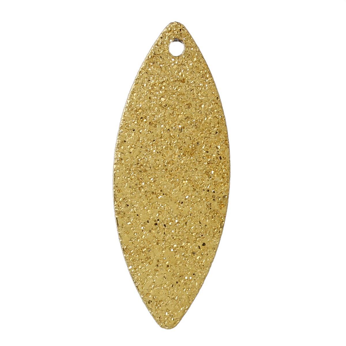 Подвеска водяная капля, Медь, Цвет: Золото, С узором, 25 мм x 10 мм