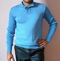 Вязаный мужской свитер цвета голубой воды с воротником-поло